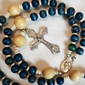 Jewelry - Catholic Wooden Bead Rosary Silver Blue